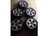 "15"" (5 stud x 100 PCD) 5 x Audi A3 2001 Alloys With Spare wheels Rims 15 Good Condition 5x100"