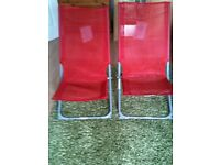 2 x Red Loungers / Folding Chairs - New With Tags