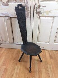 Victorian antique wooden spinning chair