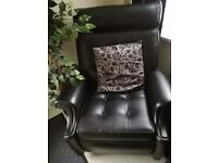 Black leather look reclining chair