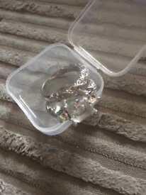 Silver diamond pair rings