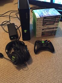 Xbox 360S 250GB (Boxed) with 13 games and Turtle Beach X12 headset