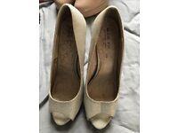 Next size 8 Silver glitter heels