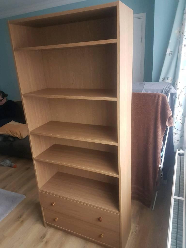 2 Drawer Extra Deep Book Case Beech Oak Effect Bookcase Shelving Unit