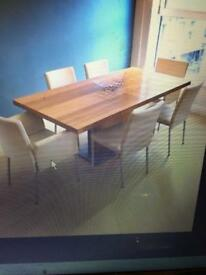 Dining table (extendable) + 6 leather chairs