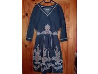 Joe Browns Cotton Navy Dress Size 10 (8-10)