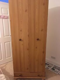 Bedside table, chest of drawers and wardrobe for sale in wood oak