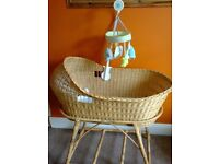 Lovely wicker Moses Basket and mattress