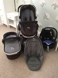 includes stroller, carrycot, maxi-cosi car seat, footmuff and waterproof covers for all pieces