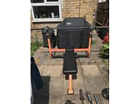 Professional Weight Bench, Olympic bar, lots of weight plates, dumbbells