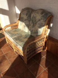 Wicker Cane Sofa plus Two Chairs