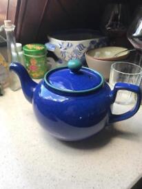Denby Classic 2 pint Blue Ceramic teapot.