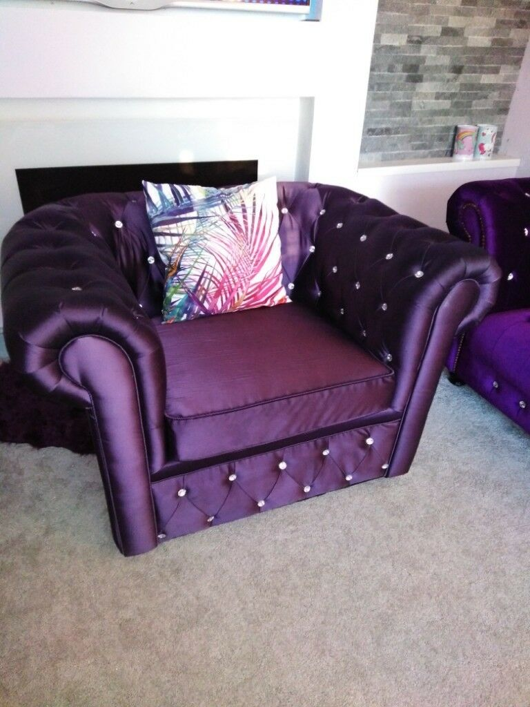Excellent Mauve Purple Diamante Encrusted Chesterfield Armchair One Seater Sofa Chair In Spennymoor County Durham Gumtree Ibusinesslaw Wood Chair Design Ideas Ibusinesslaworg