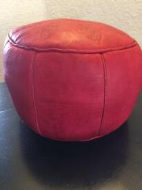 Small Red Leather Pouffe