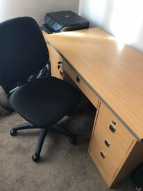 Office Desk and Chair, 4 Drawer, 1 cupboard desk and office chair for sale
