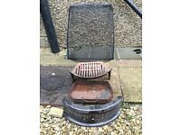 Fireplace grate, ash tray and fire guard