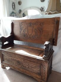Monks bench, carved oak. Table / seat / storage. Lovely....Nicely carved oak..