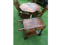 Garden Table & Chair & Drinks Trolly Set