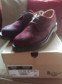 "Red leather ""hairy"" dr martins"