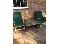 4 hardwood reclining garden chairs