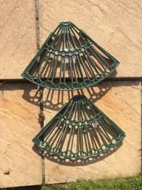 Garden dark green enamel (new) steel corner wall pot units (2)