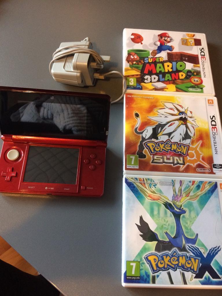 NINETENDO 3ds with BOX mario & pokemon