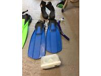 Flippers, boots and snorkel and mask