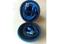 Round Hard Storage Case With Earphones & Lightning Cable Blue