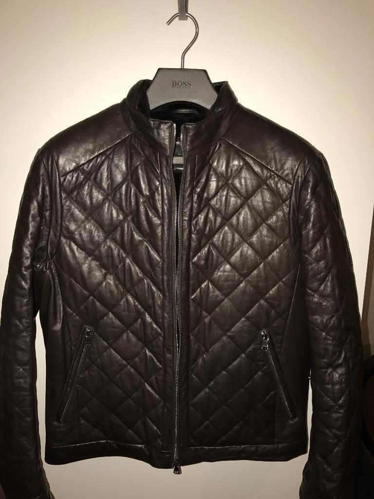 Hugo Boss leather and fur coat RRP £2500