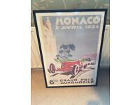 Vintage Monaco Grand Prix Poster Print (professionally Framed) BATTERSEA COLLECTION