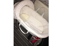 Grey and White wicker Moses basket