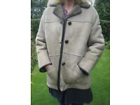Ladies' traditional style real sheepskin coat (approx size 12)