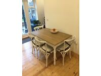 Vintage style dining table + 4 chairs