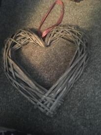 3 wicker hearts