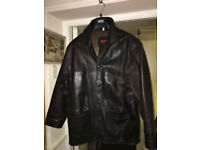 Very Nice Men's Vintage Real Leather Dark Brown Classic Style Jacket - Large