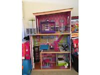 ELC WOODEN DOLLS HOUSE WITH FURNITURE