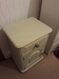 solid wood bed side table, pastel greens, shabby chique