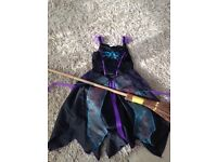 asda halloween witches dress and broom 5-6