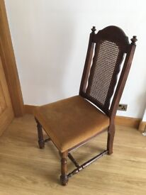 Set of 4 rattan backed oak dining chairs