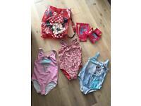 Girl swim bag, speedo armbands, 3x swimming costumes 5yrs. Next. M&S. Gap.