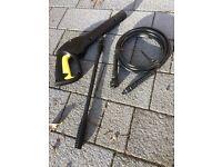 Unused Karcher pressure washer gun, hose and lance