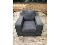 Grey sofa and 1 chair