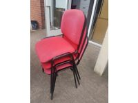 2 red office stacking chairs / pair of Red office reception chairs