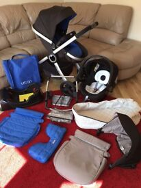 CHICCO Urban | Travel System with Car Sea | Load of Accessories | Blue | Perfect