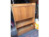 Mid century vintage narrow light wood bureau / writing desk