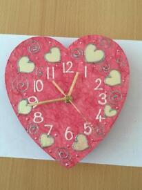 Pink heart clock