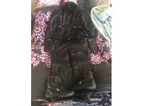 Complete motorcycle clothing kit waterproofs and leather trousers gloves helmet boots