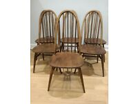6 vintage mid-century Ercol Quaker dining chairs
