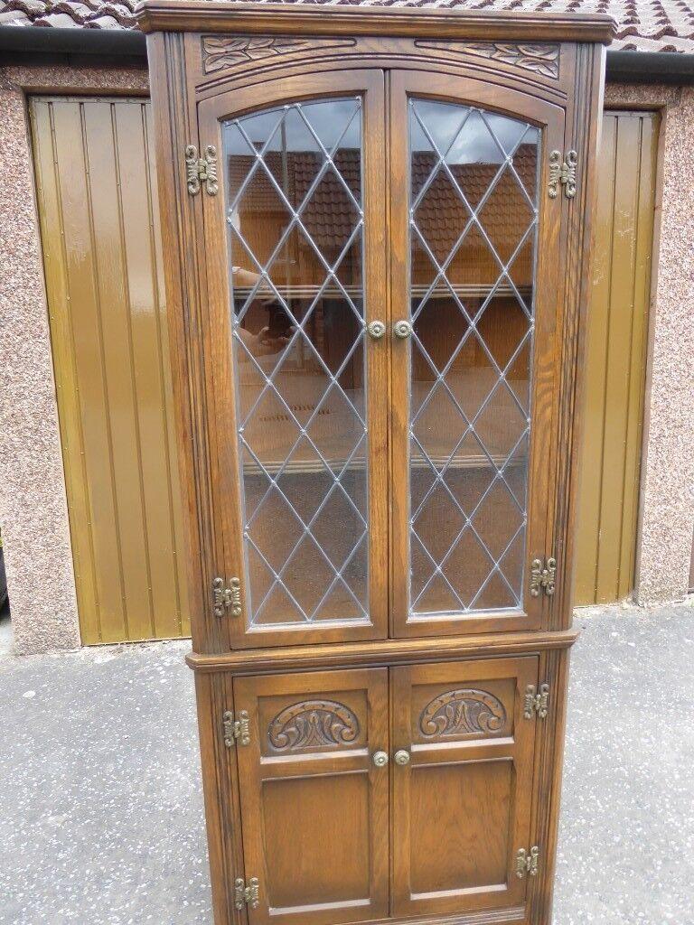 Old Charm Hand Carved Light Oak Corner Cabinet