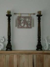 Large mango hardwood candle sticks pillar carved holder look lovely in fireplace
